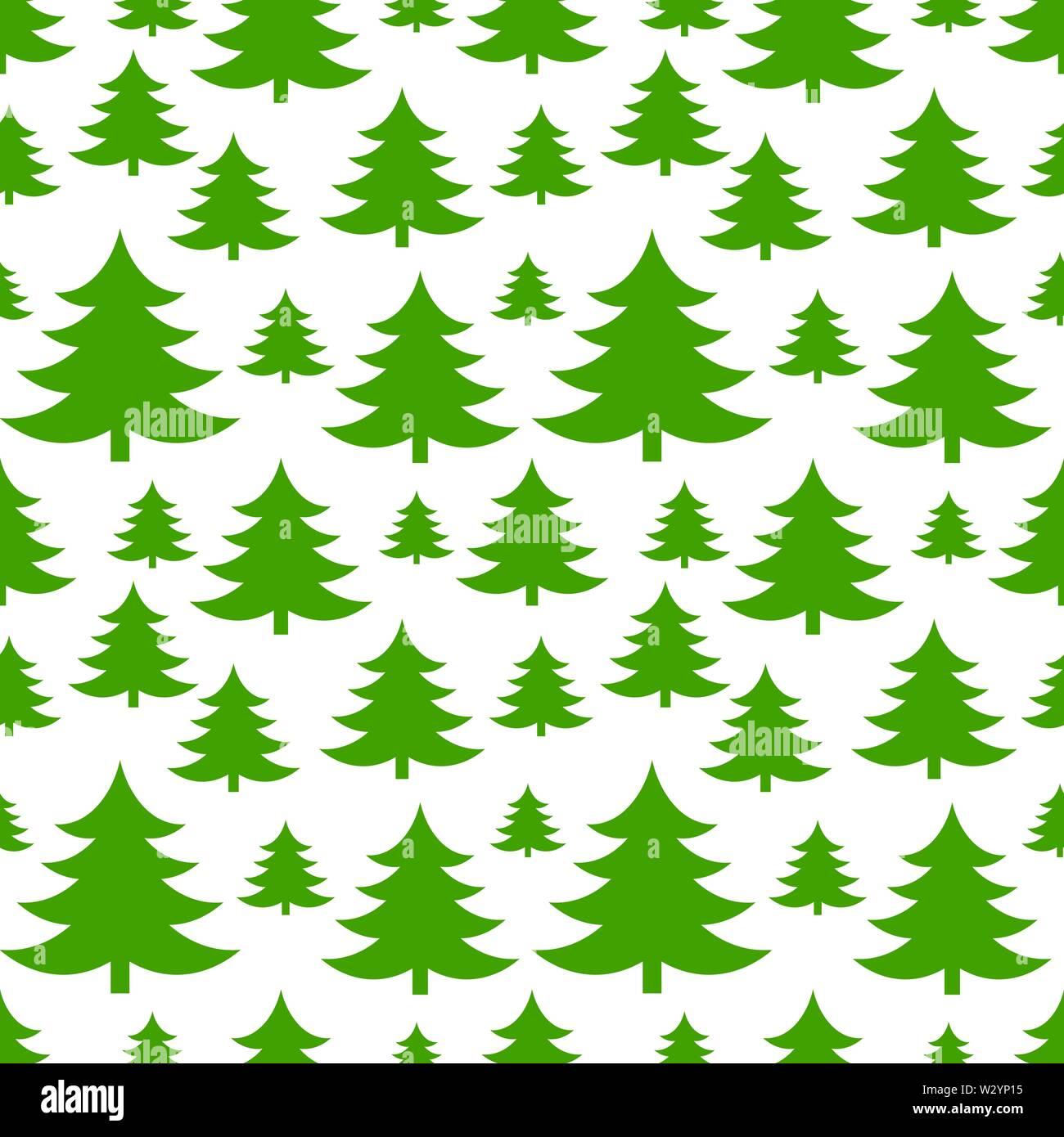 Christmas trees green seamless pattern.Vector illustration - Stock Image