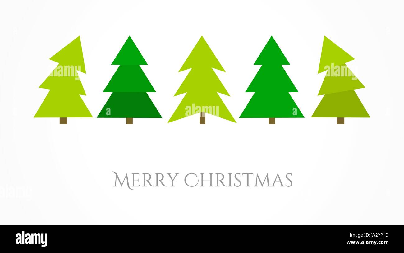 Christmas trees icons greeting card. Vector illustration - Stock Image
