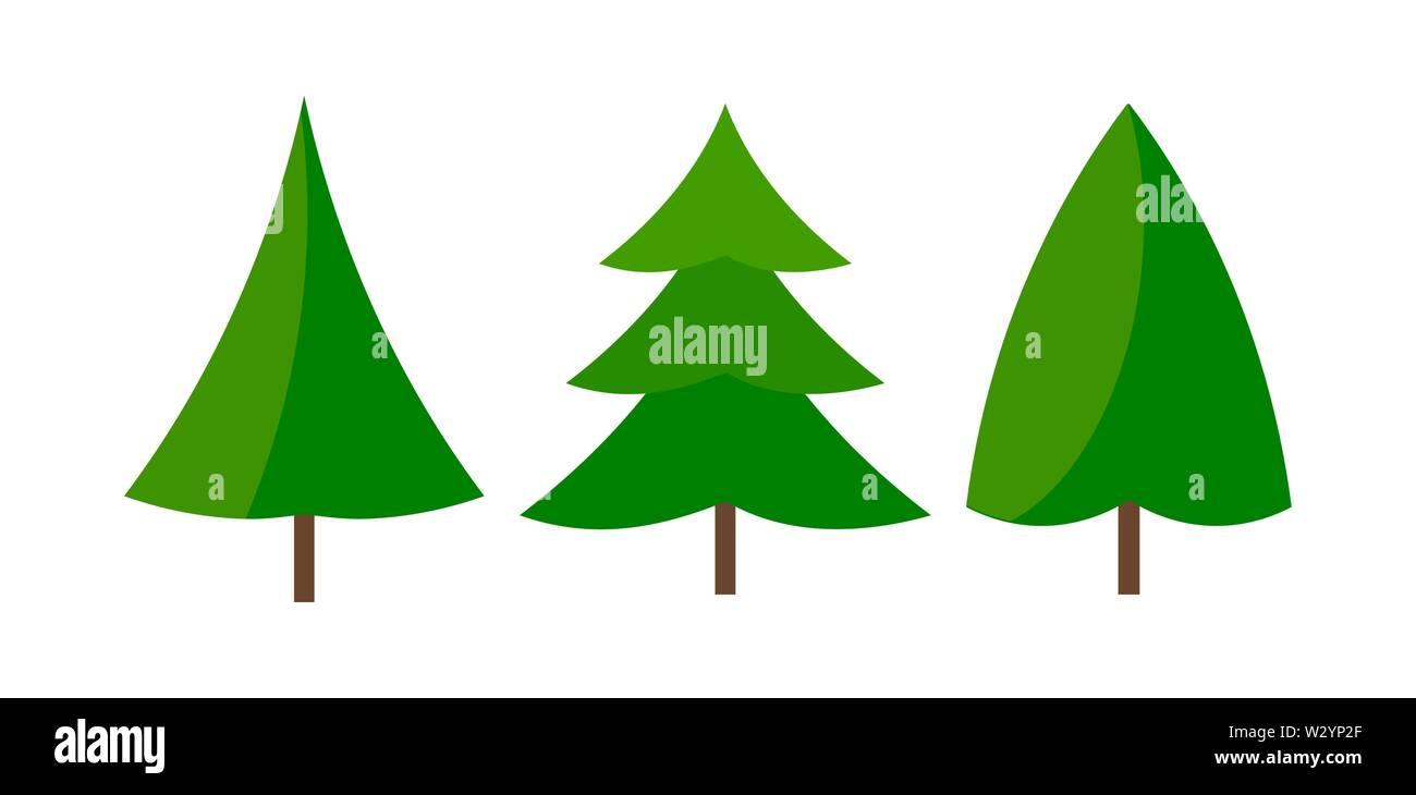 Three green natural Christmas trees icons. Vector illustration. - Stock Image