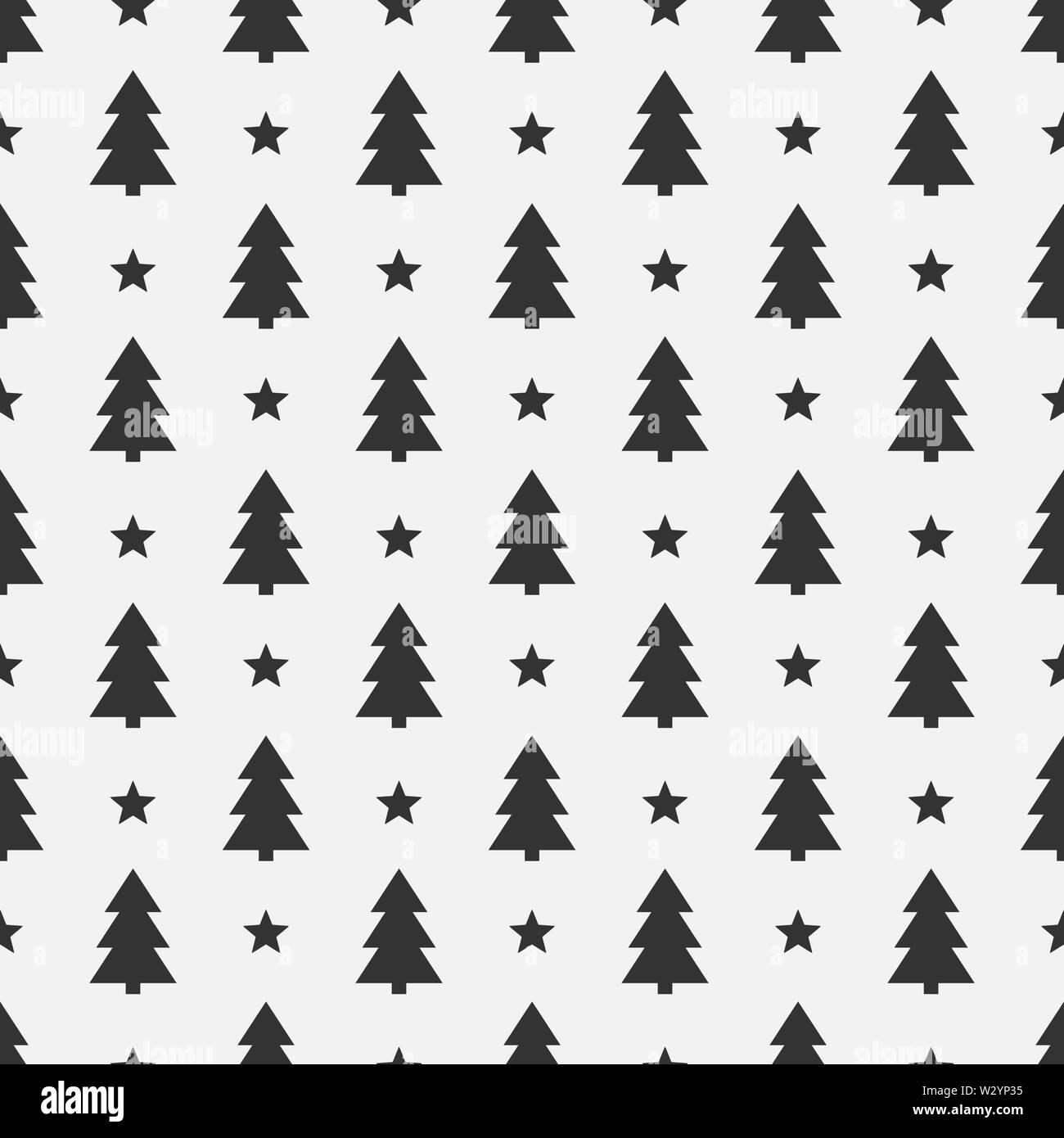 Christmas trees black seamless pattern. Vector illustration. - Stock Image