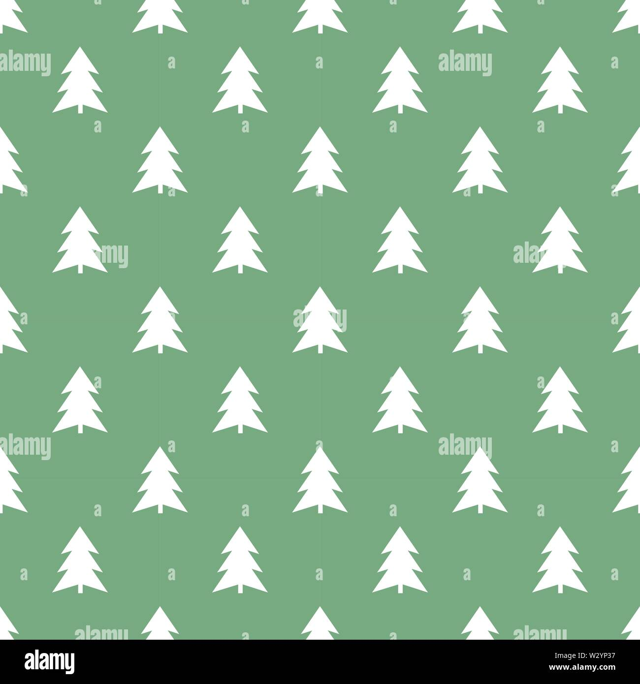 White Christmas trees on green background seamless pattern. - Stock Image