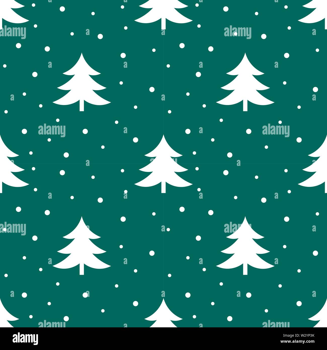 Christmas trees winter pattern. Vector illustration. - Stock Image