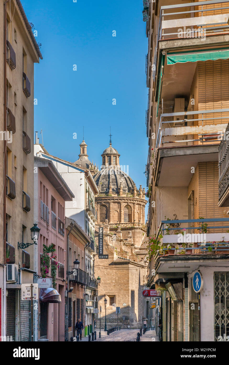 Iglesia de Santos Justo y Pastor, 16th century church at Plaza de la Universidad, view from Calle San Jeronimo in Granada, Andalusia, Spain - Stock Image