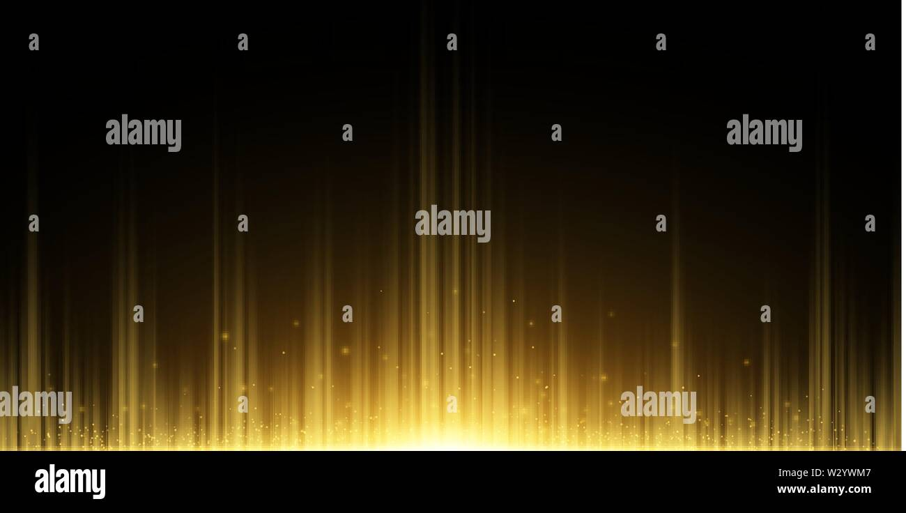 Abstract background of golden rays. Light effect. Flying magical dust. Golden Glow in the dark. Vector illustration. EPS 10 - Stock Image