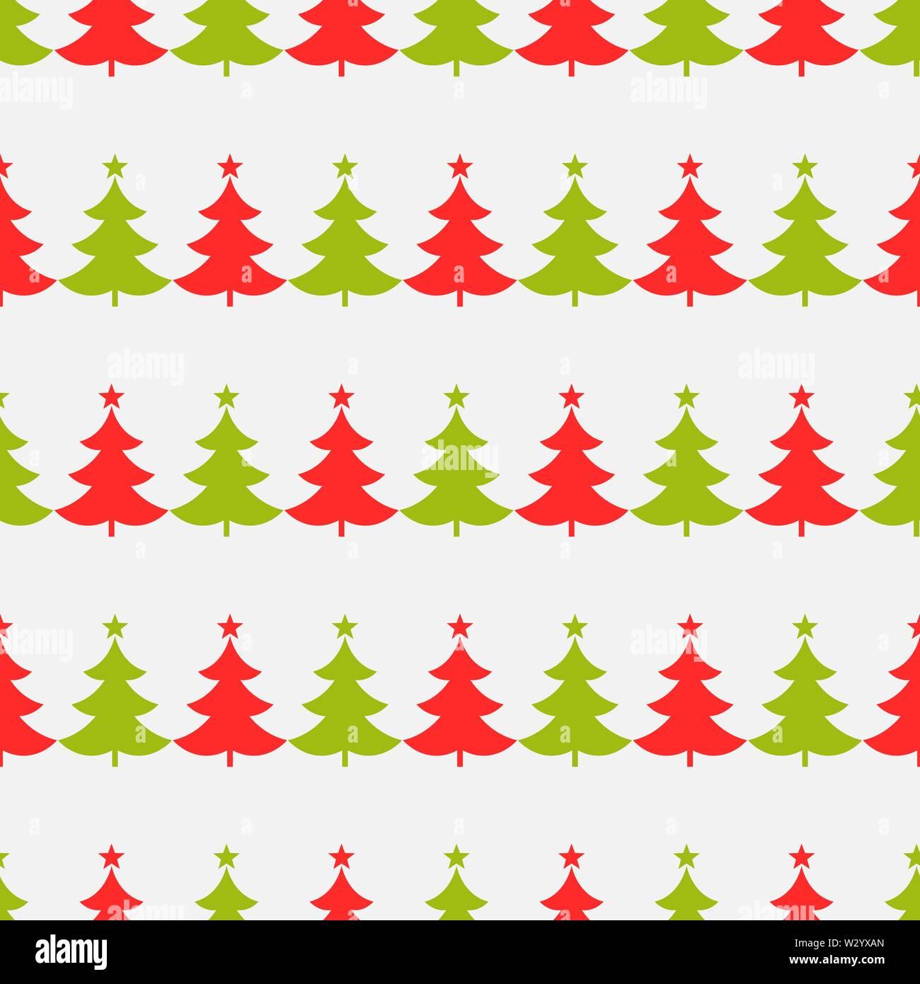 Christmas trees pattern. Vector illustration. - Stock Image