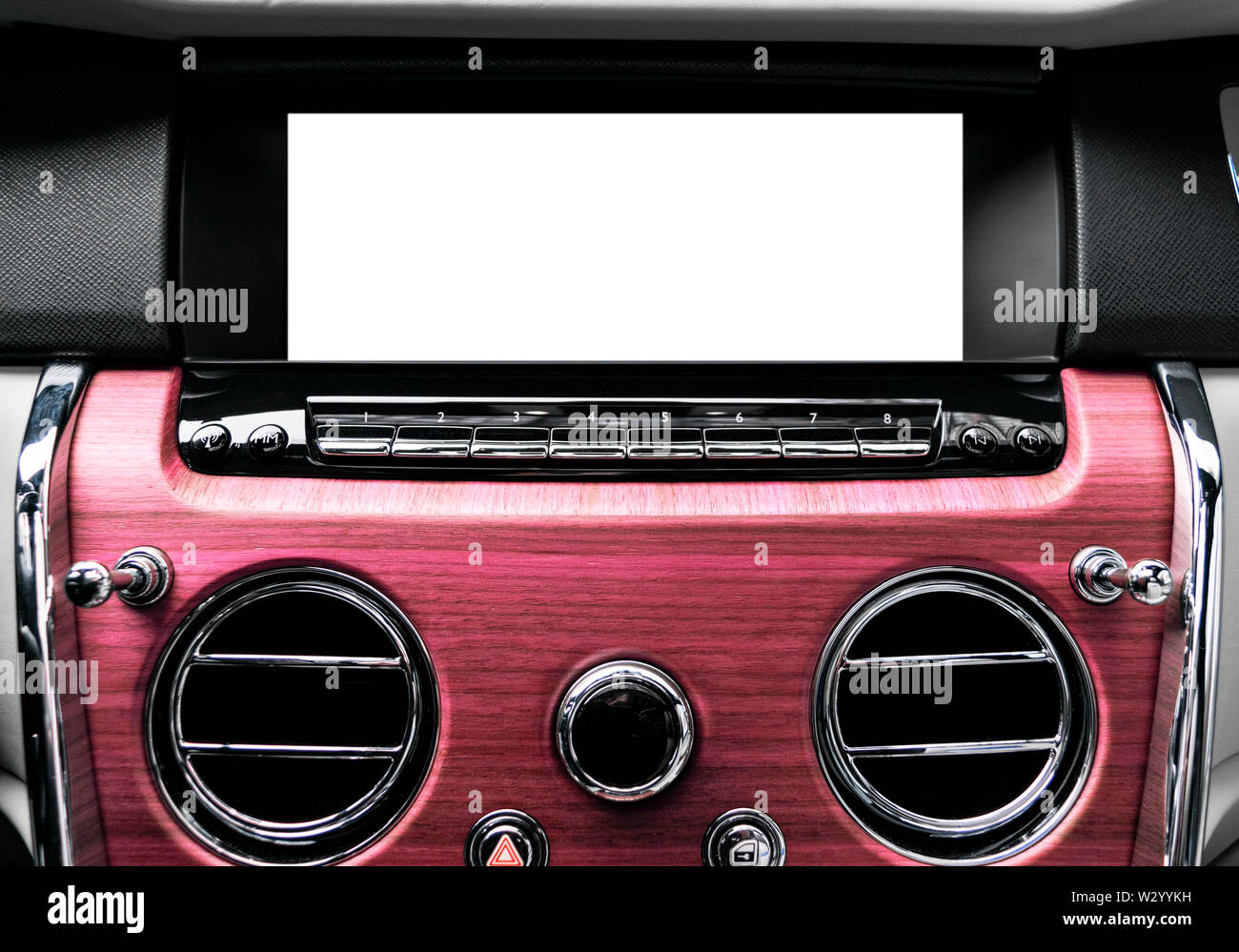 Monitor in car with isolated blank screen use for navigation maps and GPS. Isolated on white with clipping path. Car detailing. Car display with blank Stock Photo