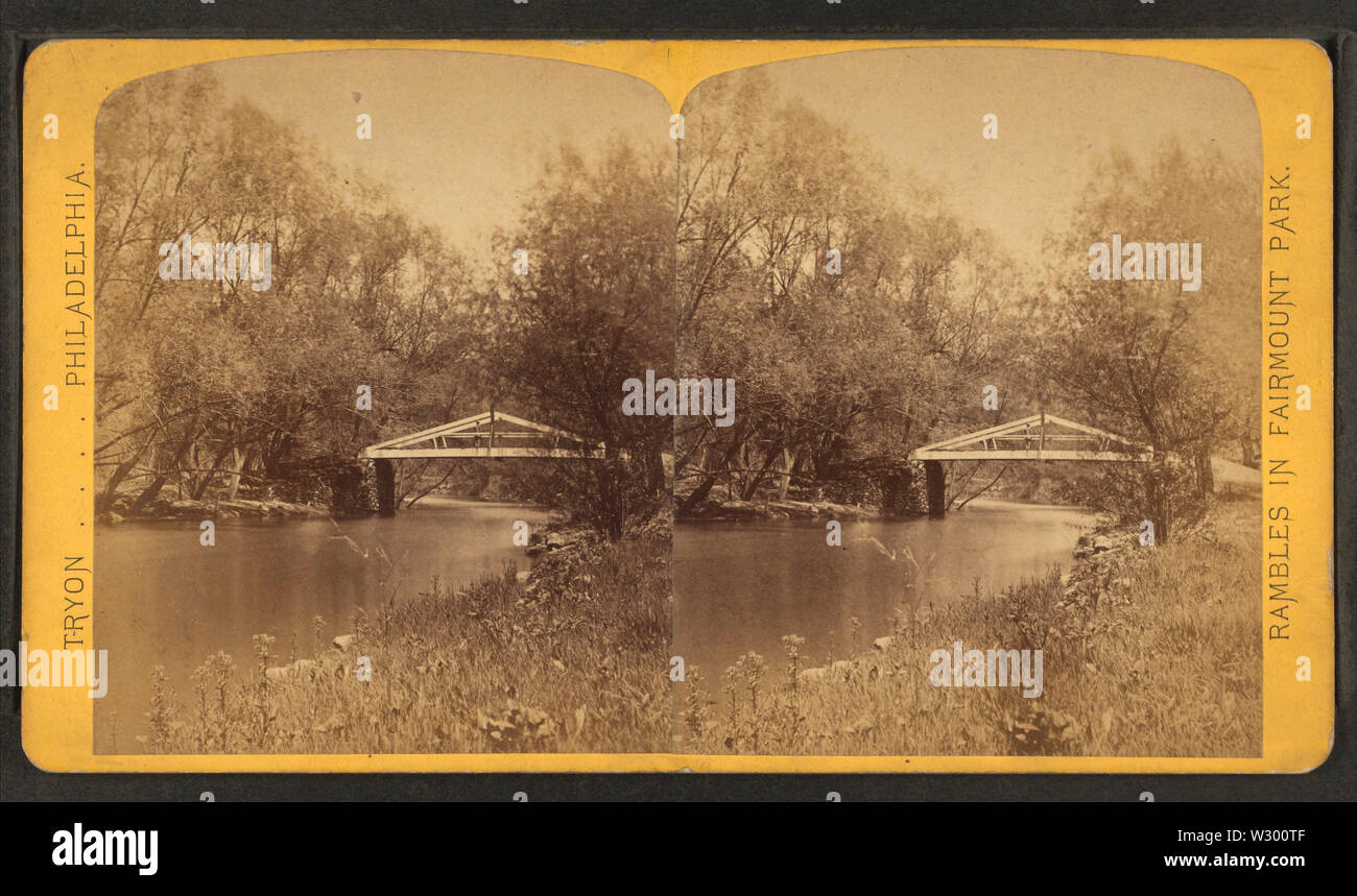 Old Log Cabin bridge, Wissahickon Creek, from Robert N Dennis collection of stereoscopic views - Stock Image