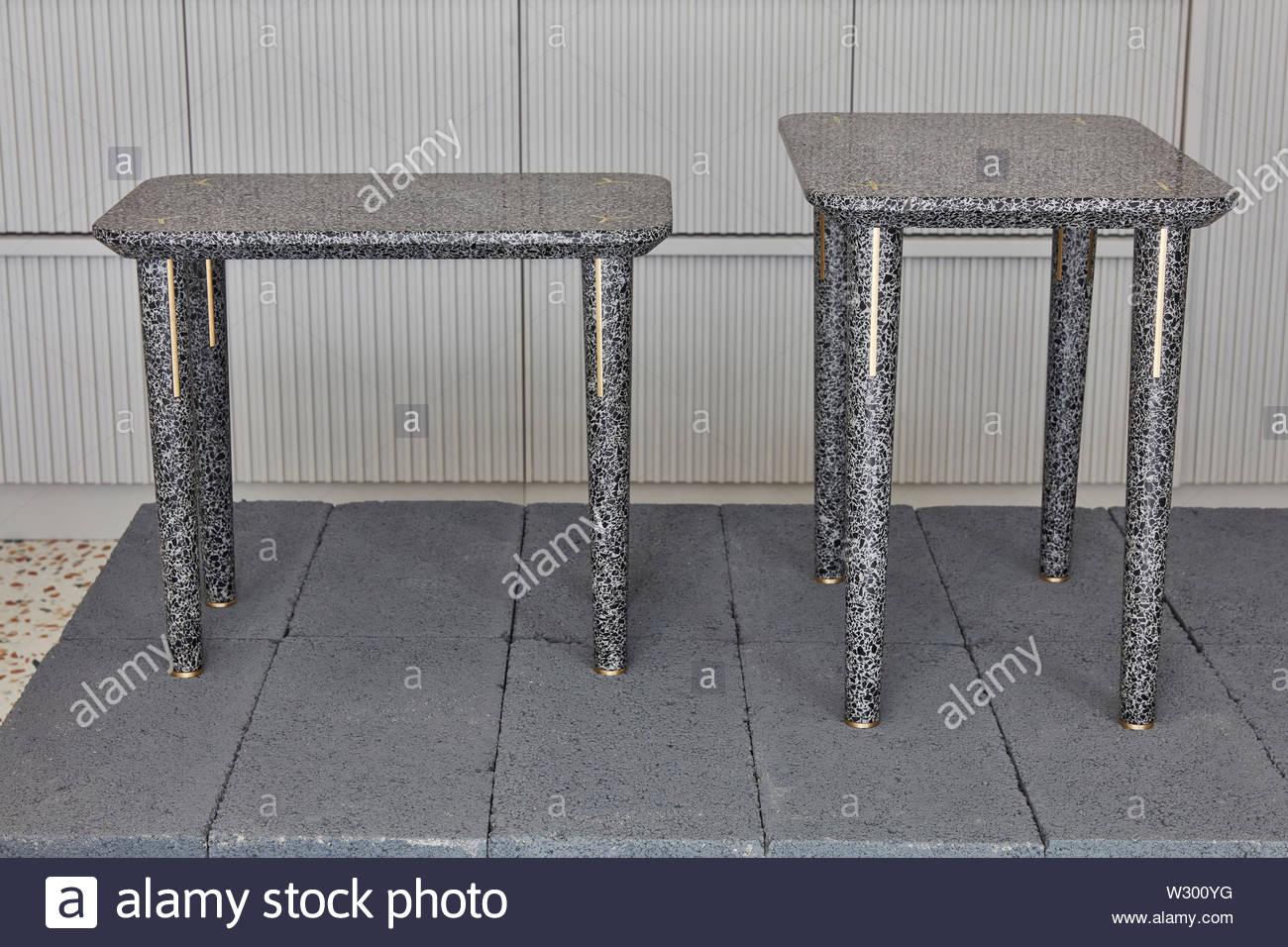 Nesting tables. Joyce Wang Showroom, London, United Kingdom. Architect: n/a, 2018. - Stock Image