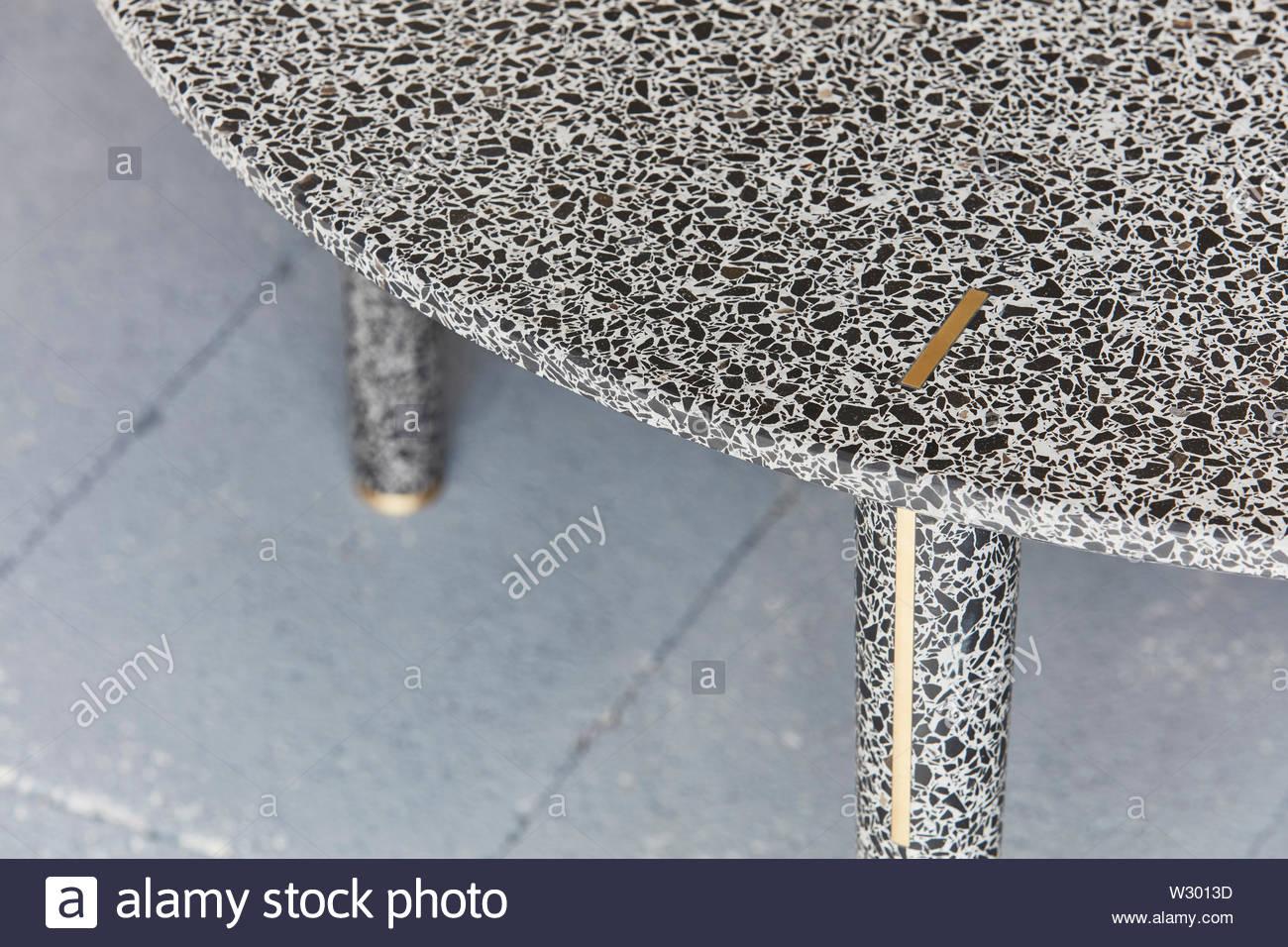 Table detail in showroom. Joyce Wang Showroom, London, United Kingdom. Architect: n/a, 2018. - Stock Image