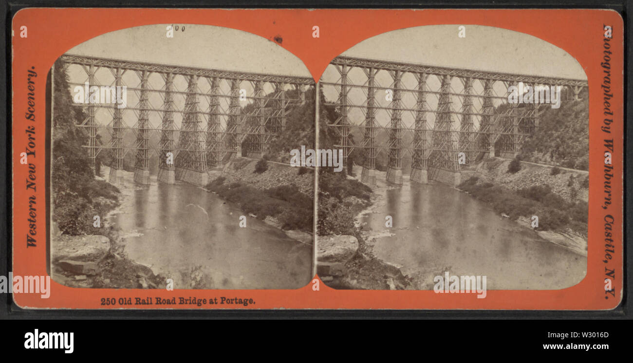 Old Rail Road Bridge at Portage, by George L Washburn - Stock Image
