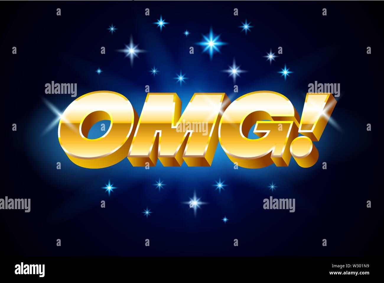 Gold omg inscription on blue background or banner with stars, emotion expression, vector illustration. Stock Vector