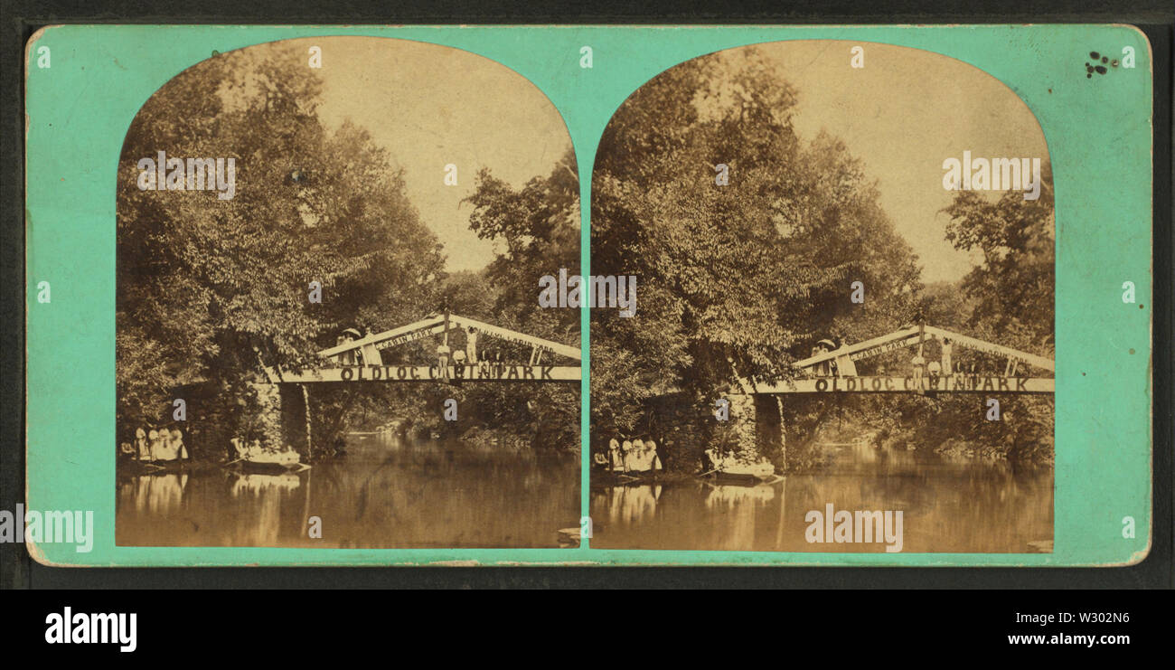 On the Wissahickon (Old Log Cabin Park), from Robert N Dennis collection of stereoscopic views - Stock Image