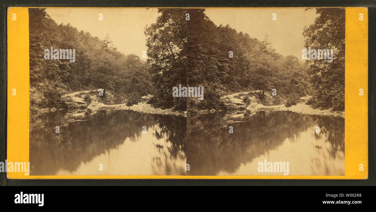On the Wissahickon, near Old Log Cabin, by Bartlett & French 2 - Stock Image