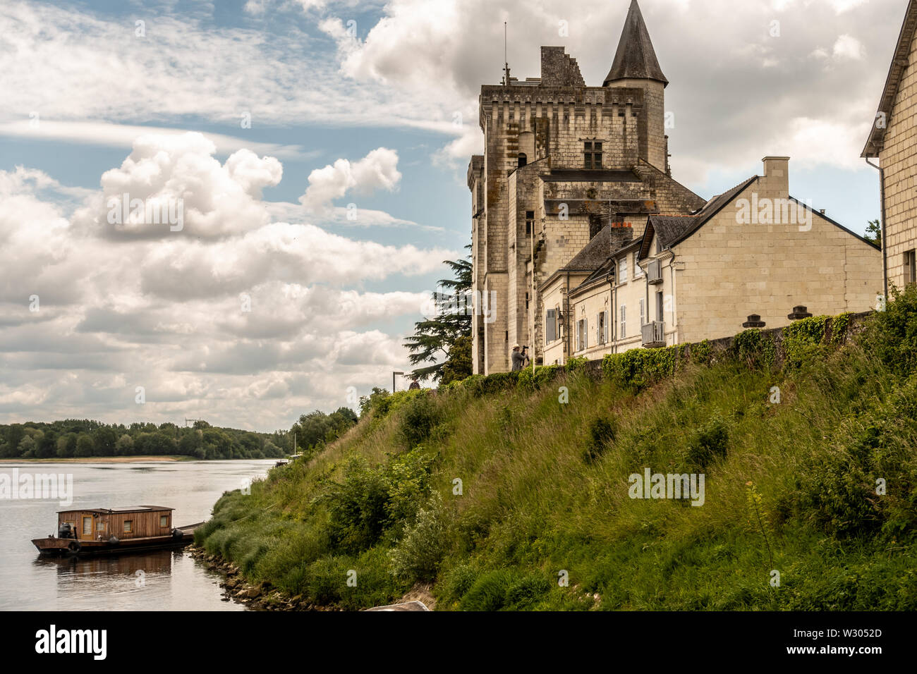 Château de Montsoreau-Museum of Contemporary Art on the riverside to the rive at the Loire Valley - Stock Image