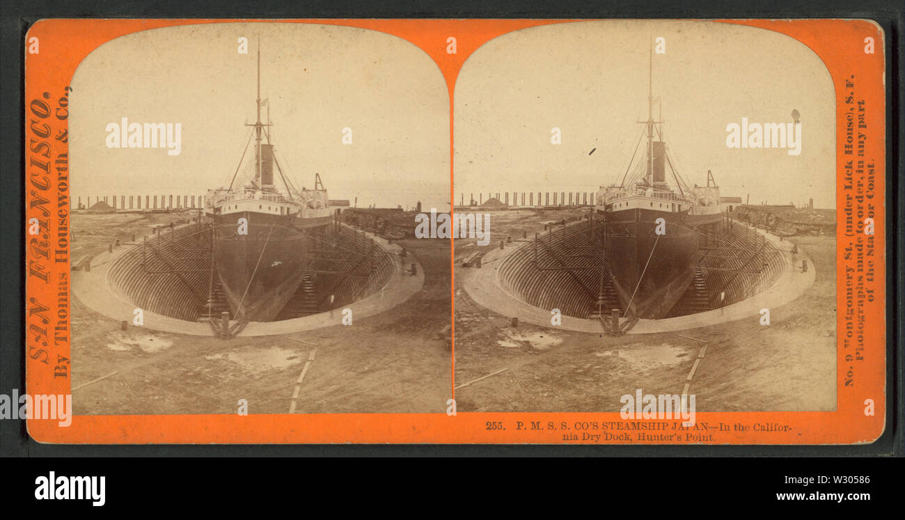PMSS & Co's Steamship Japan - In the California Dry Dock, Hunter's Point, by Thomas Houseworth & Co - Stock Image