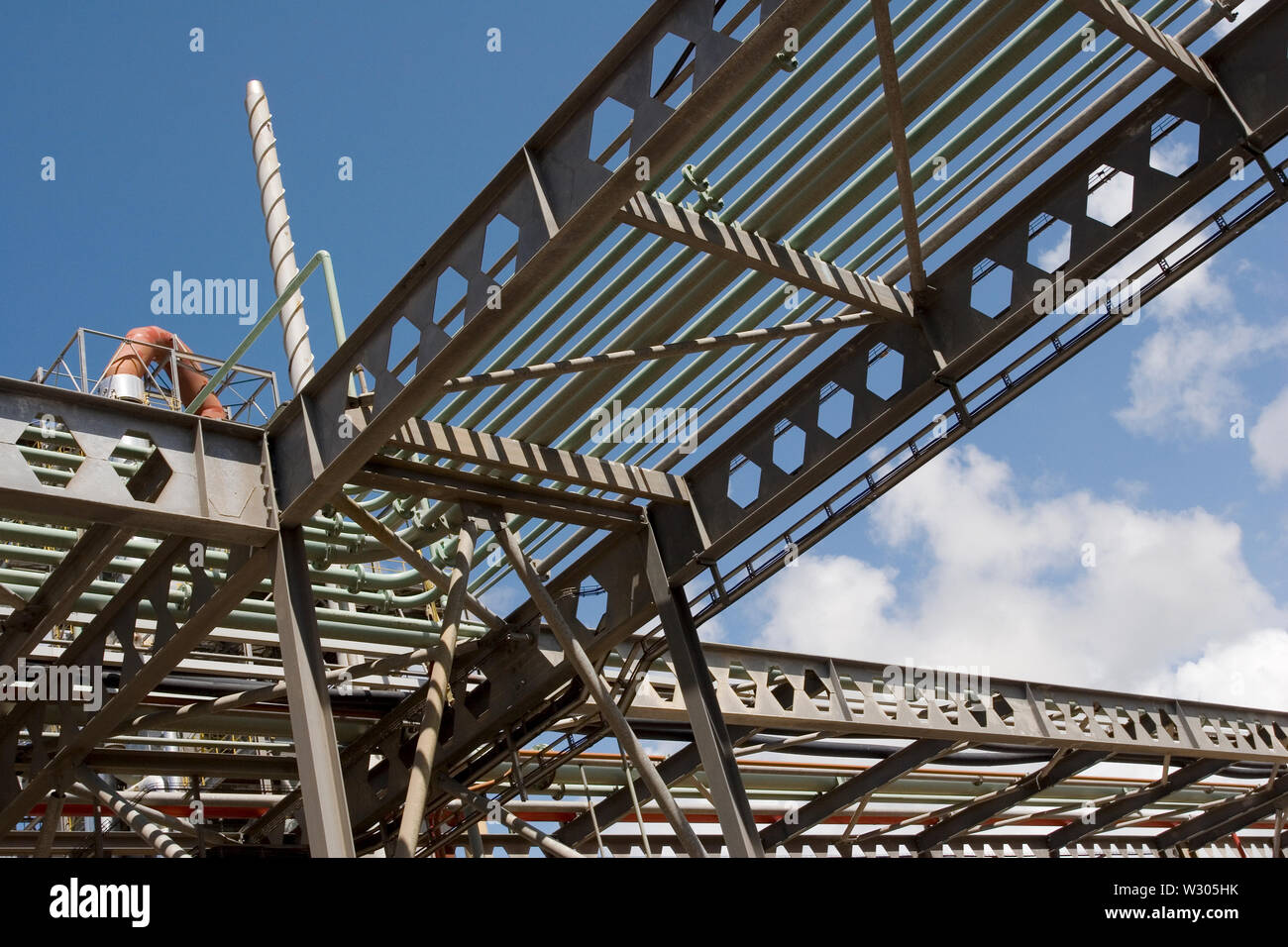Mining, managing & transporting of titanium mineral sands. Abstract view up gantry to part of the construction of a new processing plant being built. Stock Photo