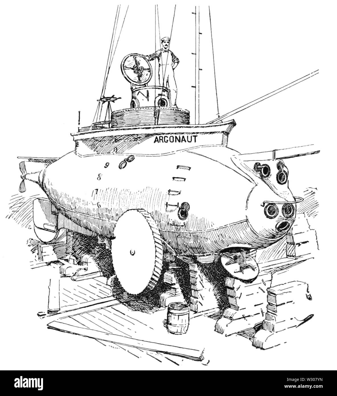 PSM V58 D171 The argonaut submarine in dry dock - Stock Image
