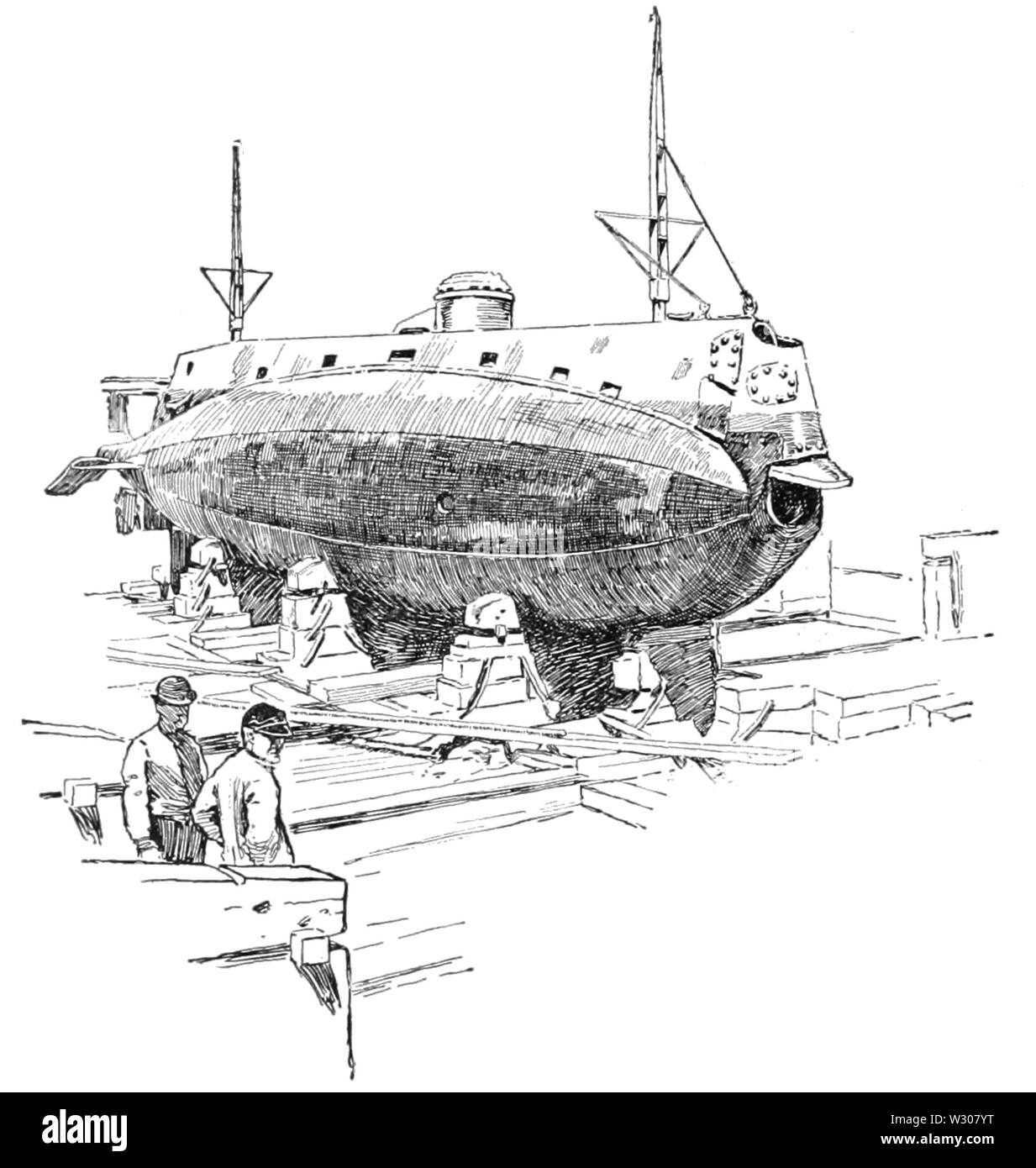 PSM V58 D172 The holland submarine in dry dock - Stock Image