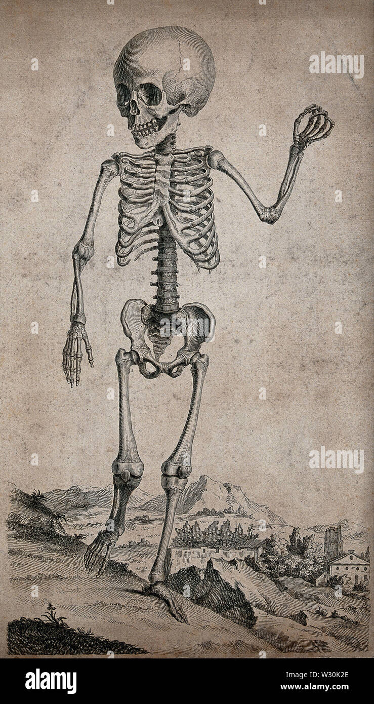 Skeleton of a child standing in a landscape. Engraving, 17--. Stock Photo