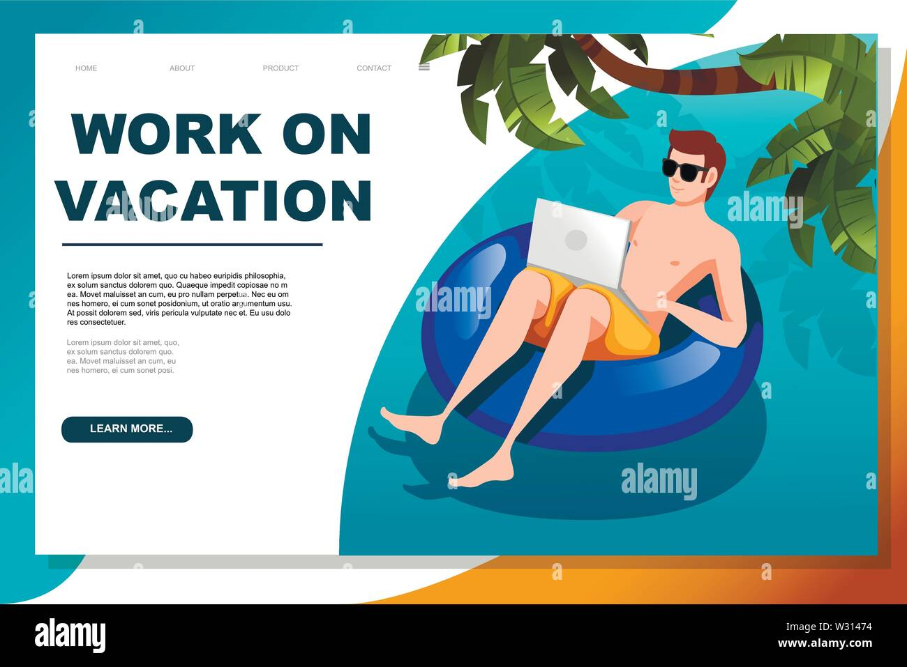 Young man floating on an blue inflatable circle with laptop flat vector illustration work at vacation horizontal banner web site design. Stock Vector