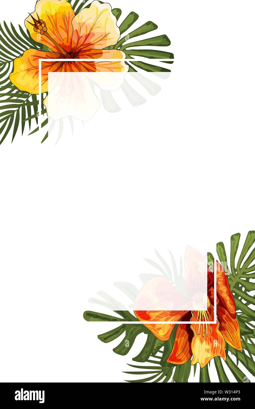 Wedding Invitation Card Floral Jungle Blank Frame Postcard Template