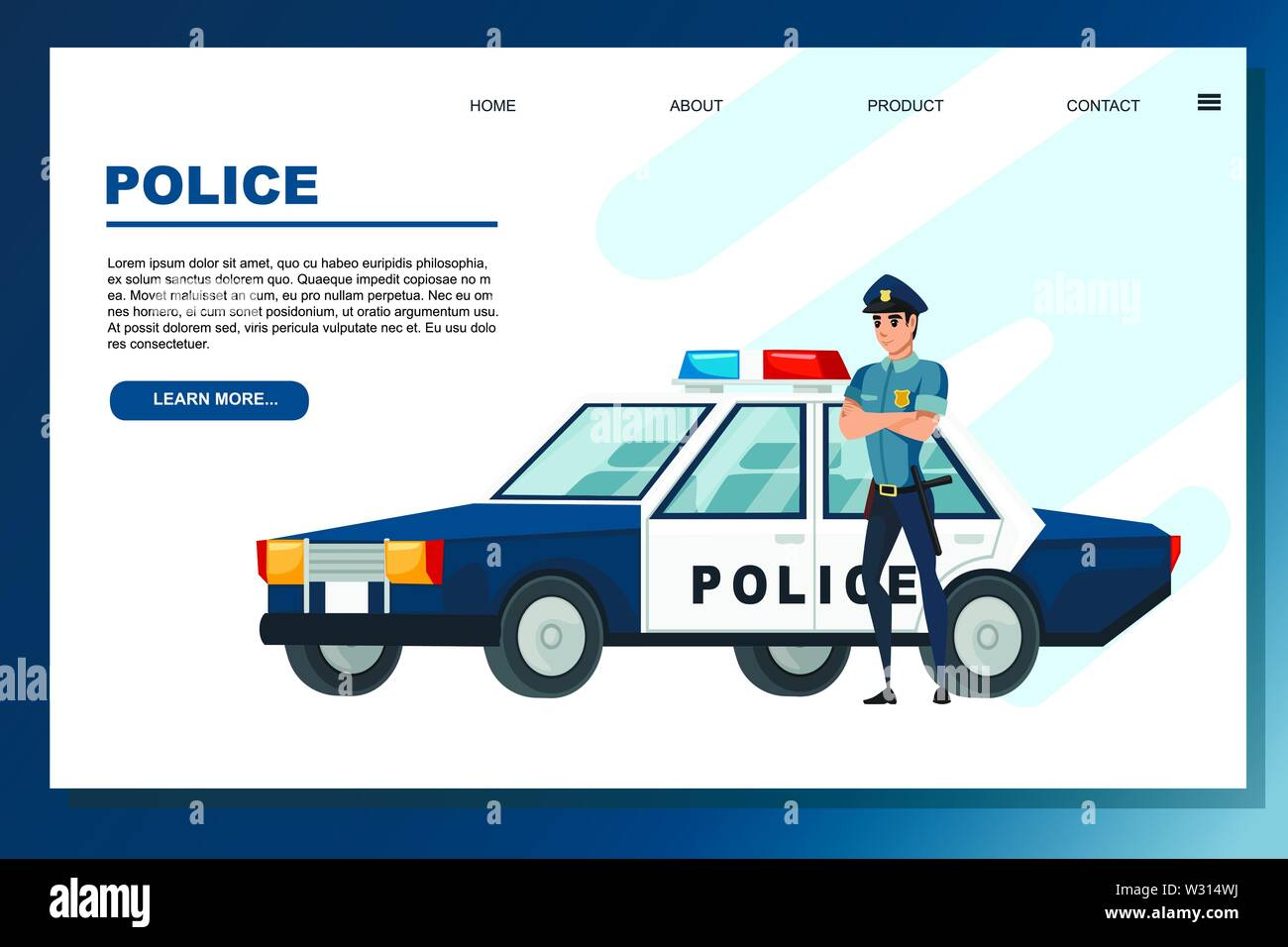 Police Car Website >> Cartoon Design Police Car And Police Officer Flat Vector