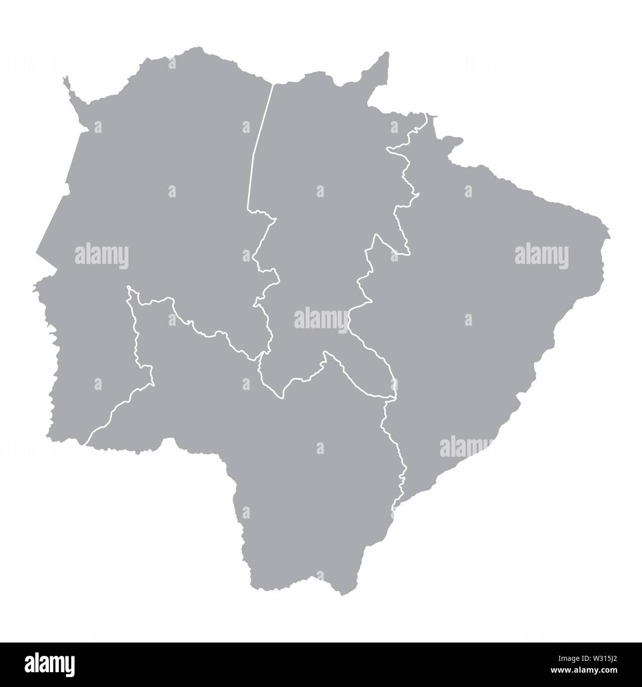 Mato Grosso do Sul State regions Stock Vector