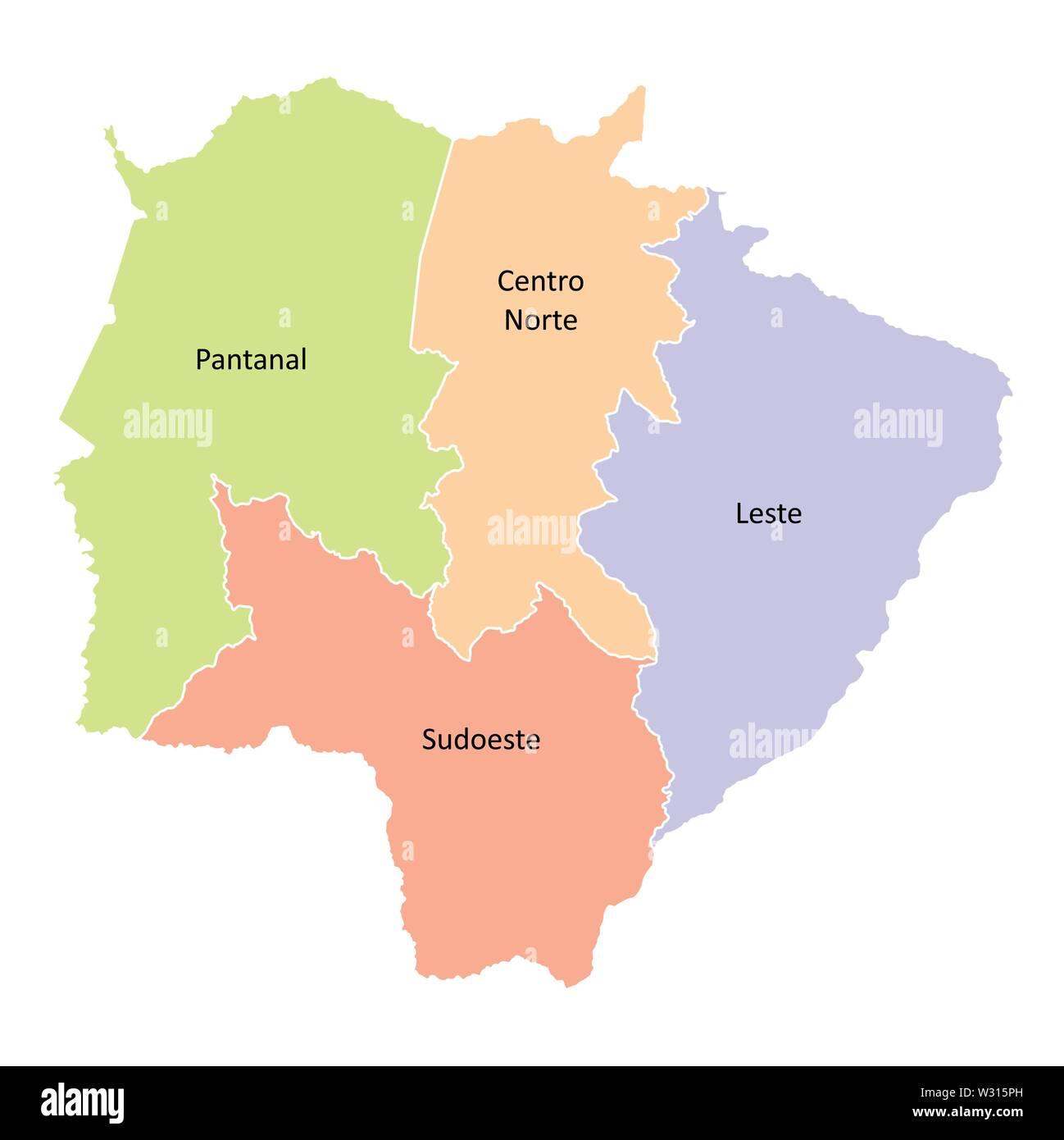Mato Grosso do Sul State regions - Stock Image