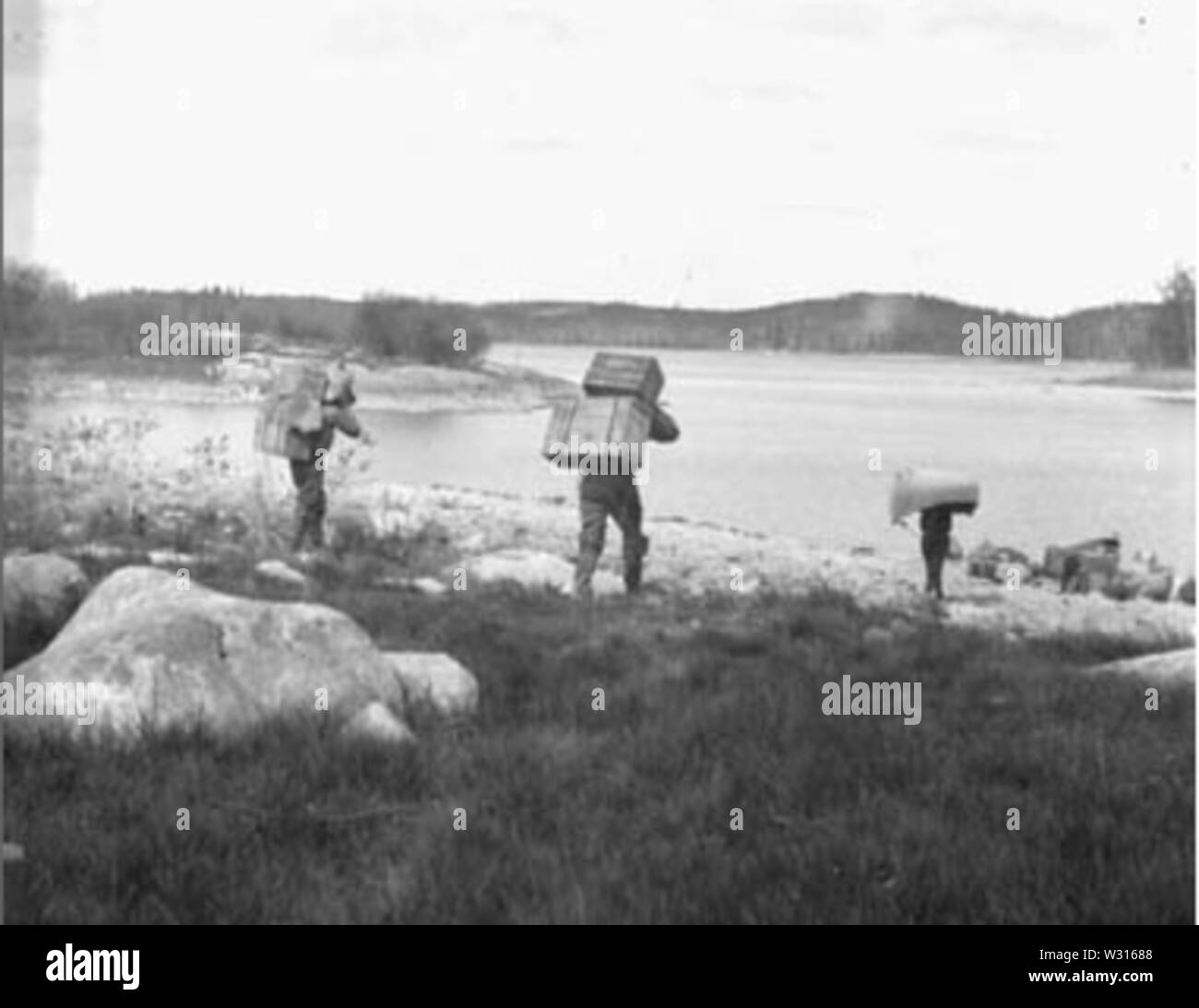 Packing on Frog Portage, Churchill River, Sask 1924 - Stock Image