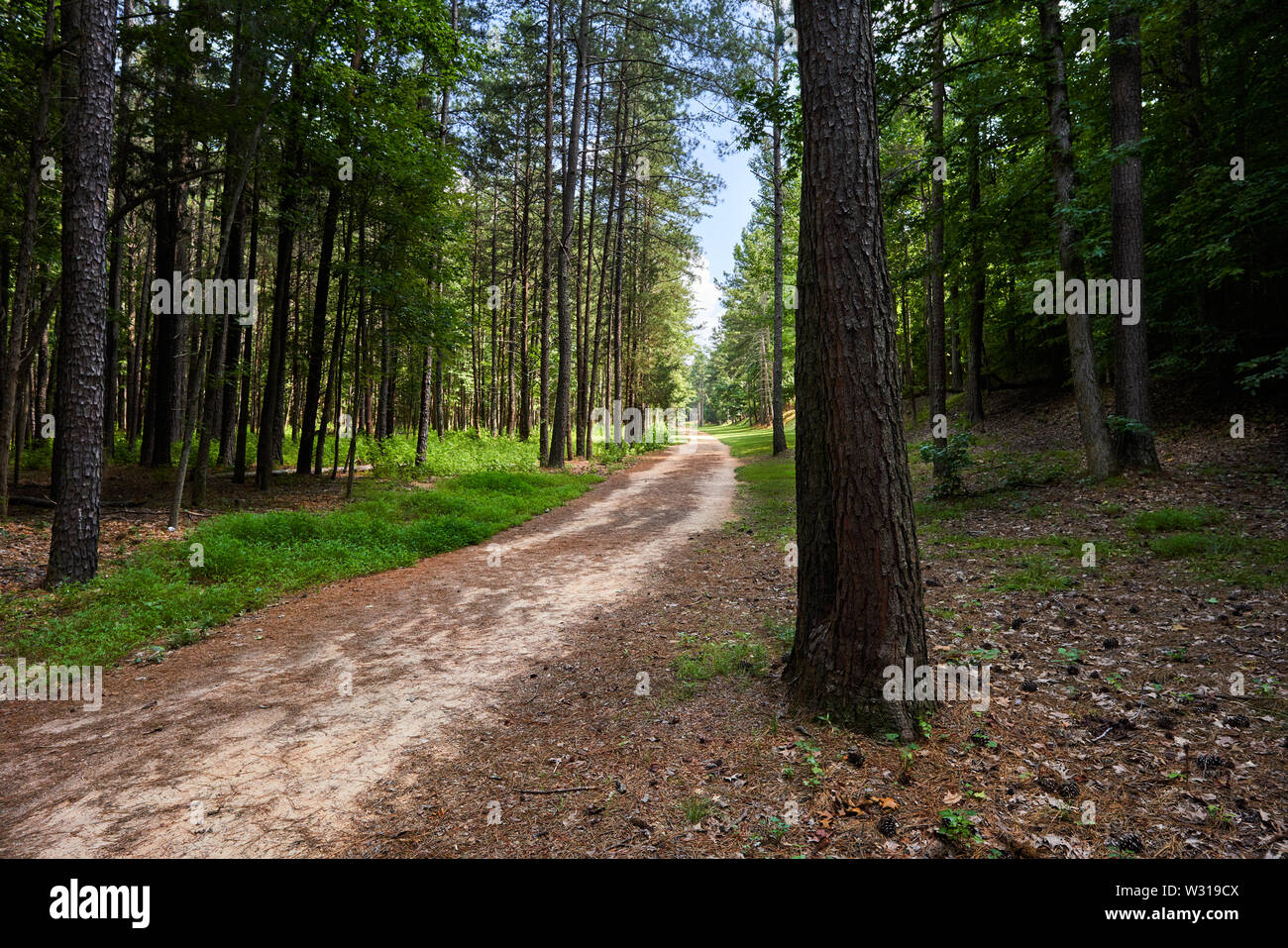 The Historic Occoneechee Speedway Trail in Hillsborough, North Carolina is the only remaining dirt track from the inaugural 1949 NASCAR season. - Stock Image