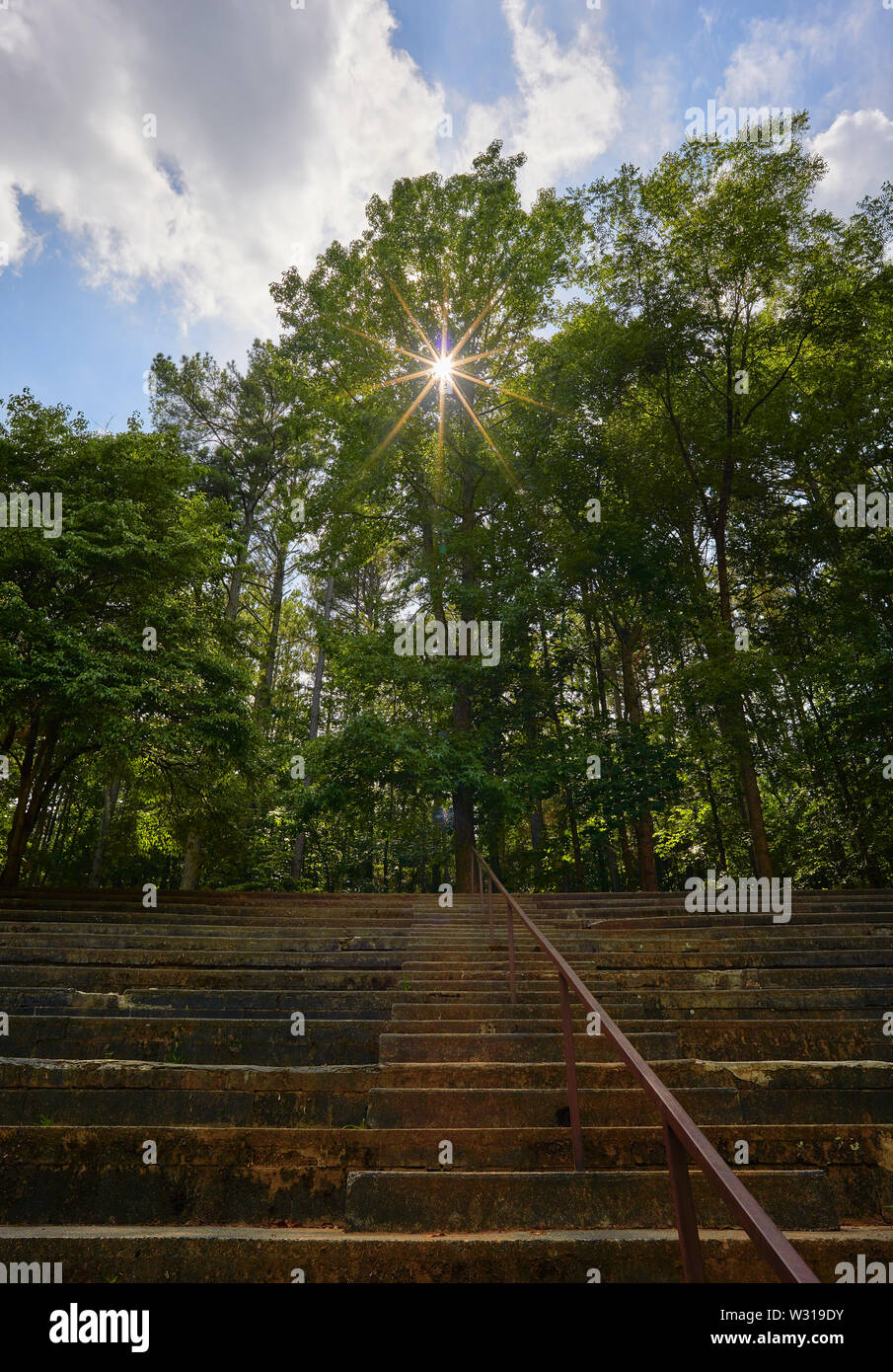 A view of the grand stand at Occoneechee Speedway Trail in Hillsborough, NC is the only remaining dirt track from the inaugural 1949 NASCAR season. - Stock Image