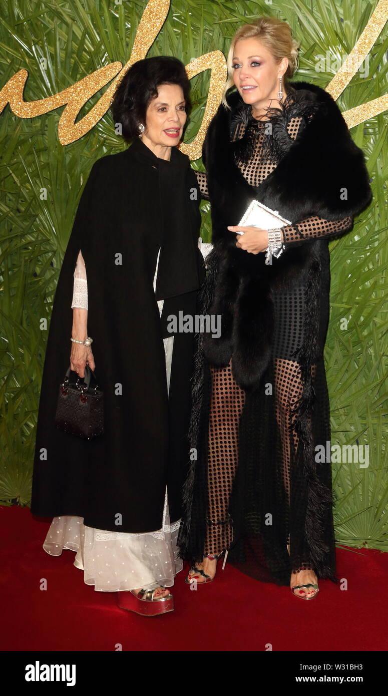 London, UK. Bianca Jagger and Nadia Swarovski at The Fashion Awards 2017 at the Royal Albert Hall, Kensington Gore, London on Monday 4 December 2017 Ref: LMK73-J1249-051217 Keith Mayhew/Landmark Media.  WWW.LMKMEDIA.COM. - Stock Image