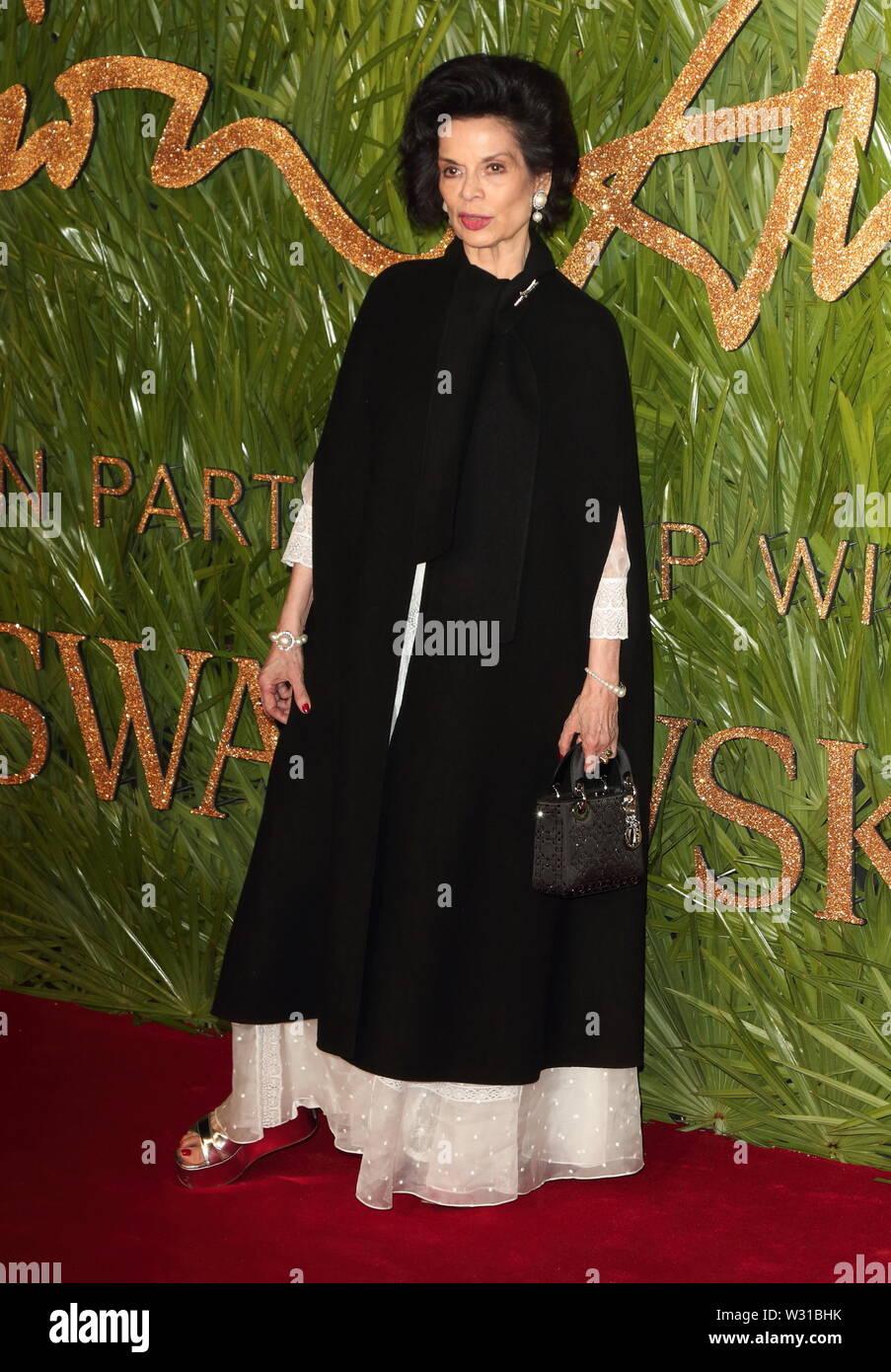 London, UK. Bianca Jagger at The Fashion Awards 2017 at the Royal Albert Hall, Kensington Gore, London on Monday 4 December 2017 Ref: LMK73-J1249-051217 Keith Mayhew/Landmark Media.  WWW.LMKMEDIA.COM. - Stock Image