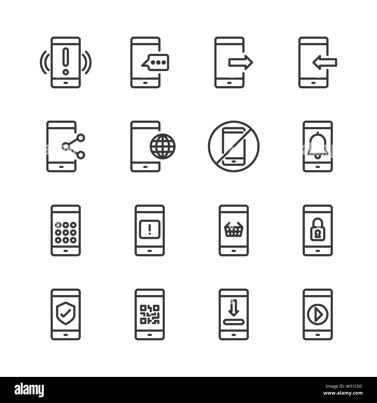 Cell phone icon set.Vector illustration - Stock Image