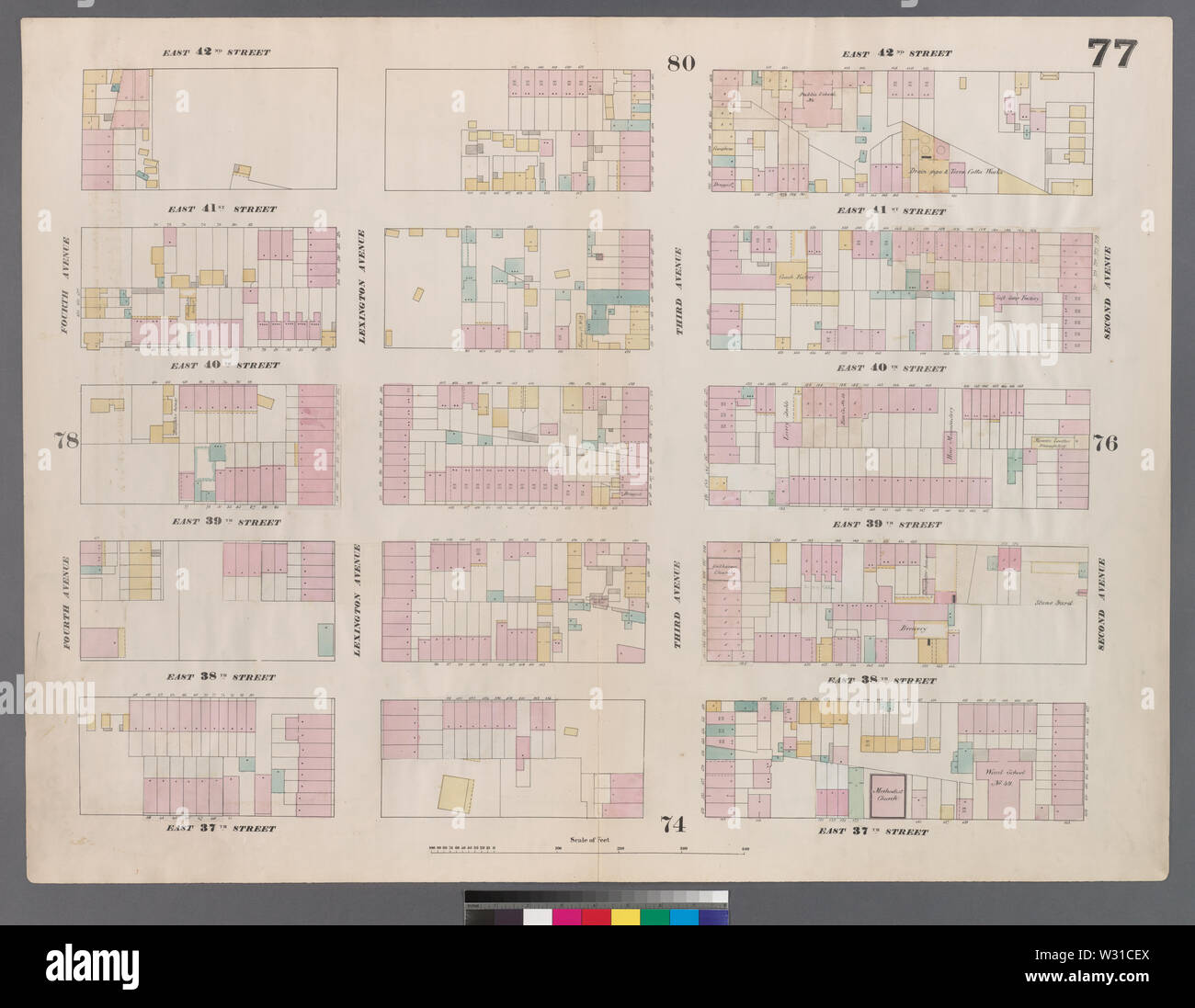 Plate 77 from: Perris, William. Maps of the City of New-York. Volume 5. (New York: Perris & Browne, 1859) - Stock Image