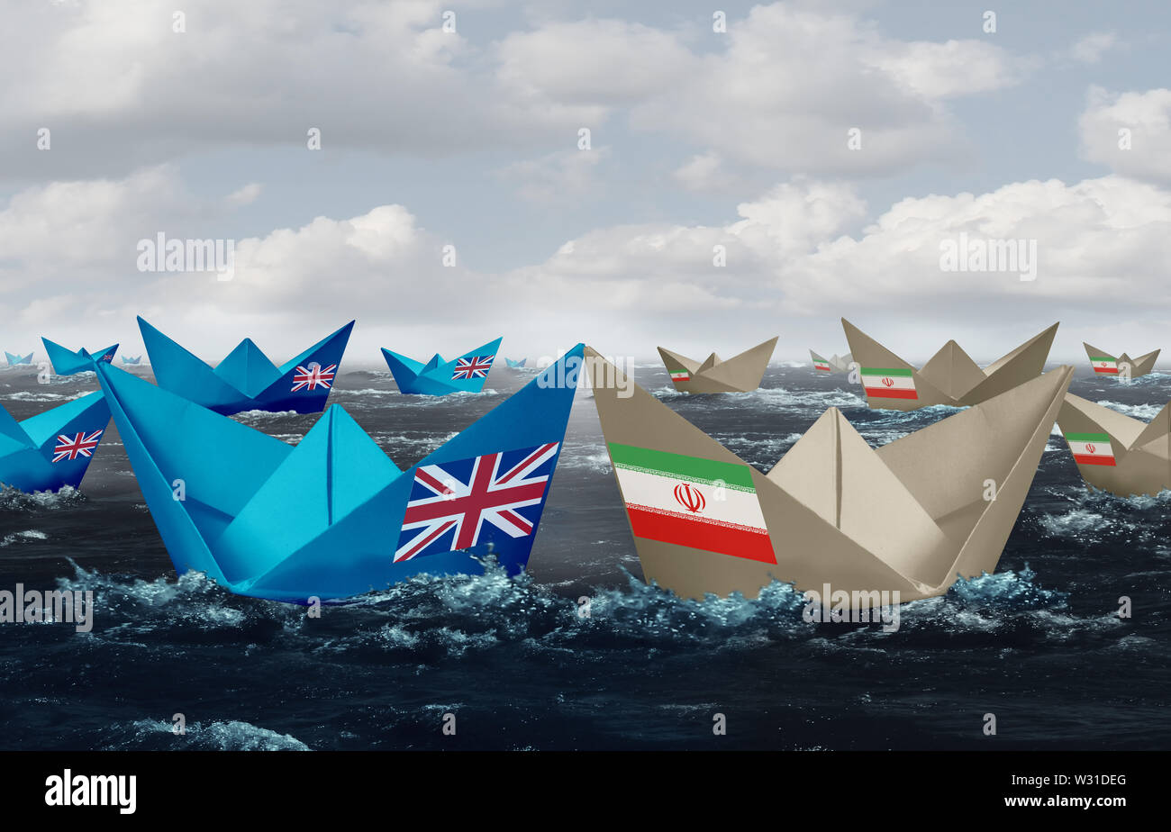 United Kingdom and Iran confrontation in the Persian gulf as a crisis in the middle east as Great Britain versus the Iranian government. - Stock Image