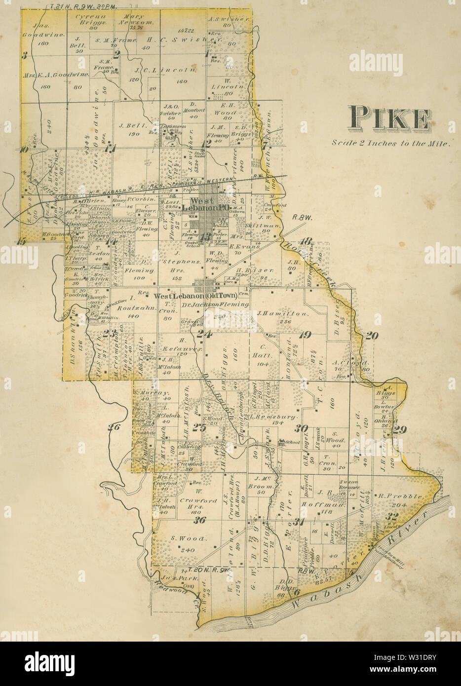 Pike Township, Warren County, Indiana map from 1877 atlas - Stock Image