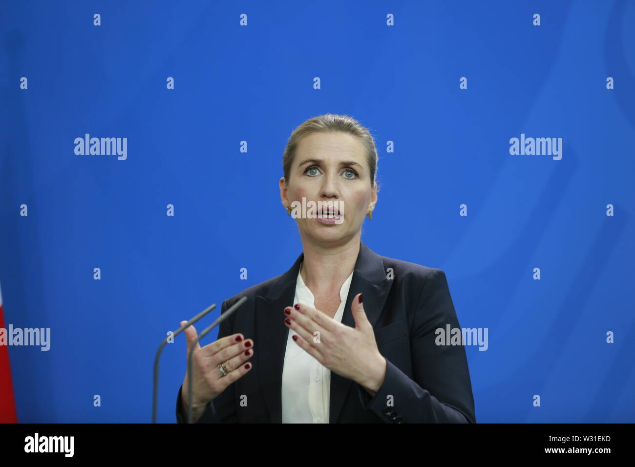 07.05.2019, Berlin, Germany,  the new Danish Prime Minister Mette Frederiksen at the press conference in the Chancellery in Berlin. Stock Photo
