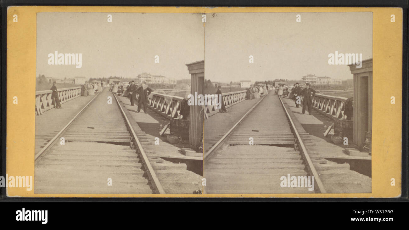 Portage Bridge, by Knight, W M, 1841-1881 - Stock Image