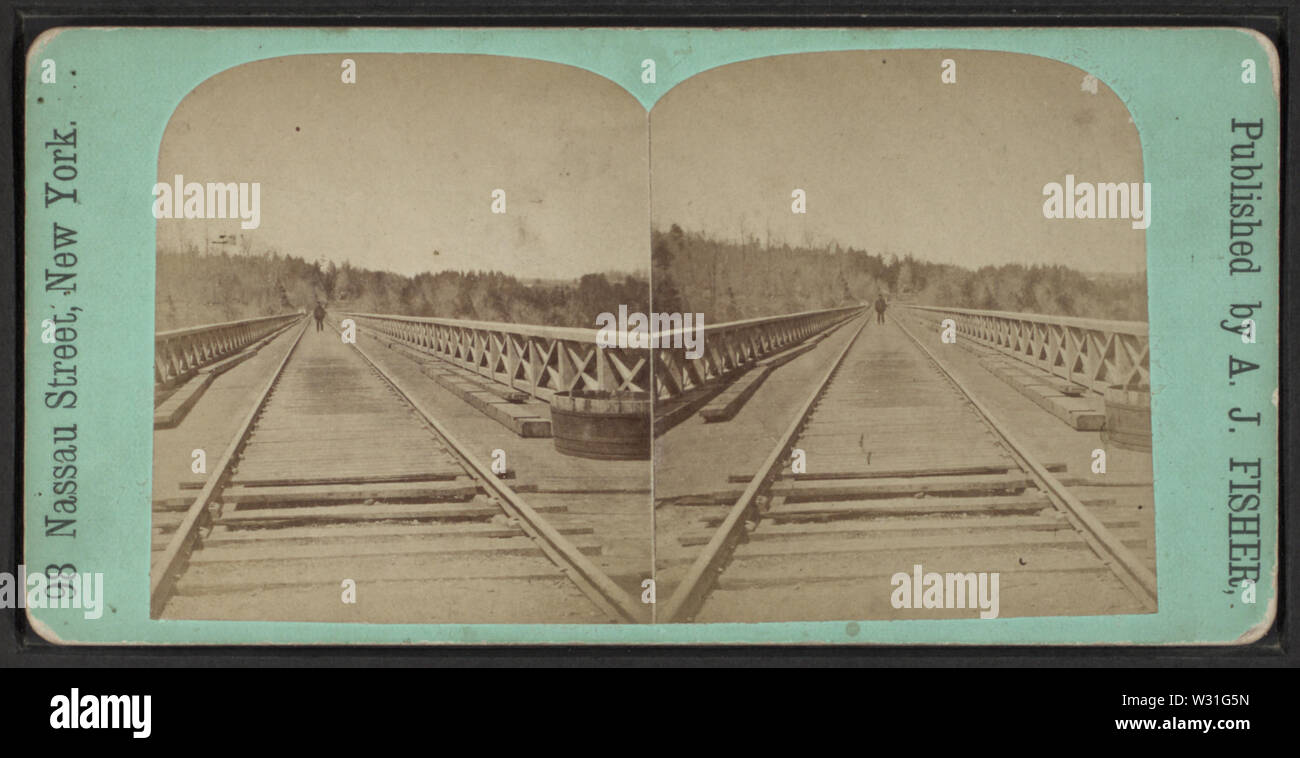 Portage Bridge, NY, by Fisher, A J (Albert J), 1842-1882 - Stock Image