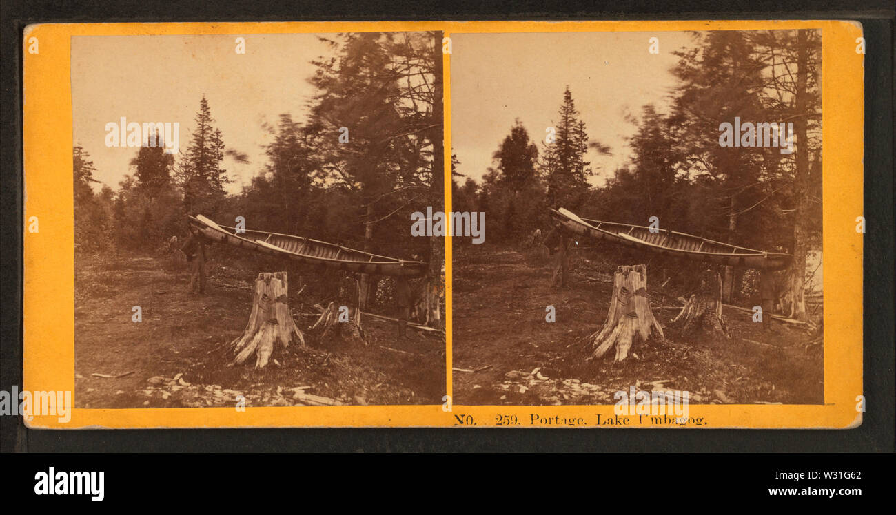 Portage, Lake Umbagog, from Robert N Dennis collection of stereoscopic views - Stock Image