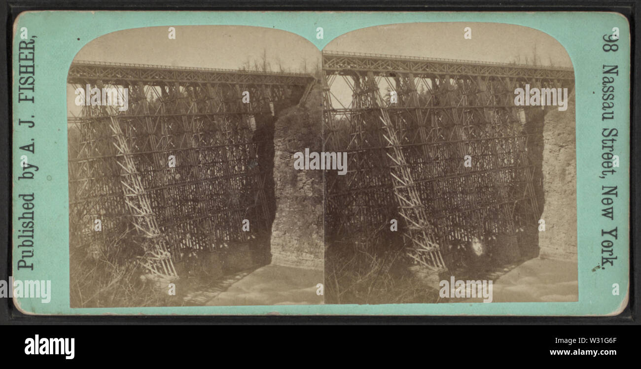 Portage RR Bridge, by Fisher, A J (Albert J), 1842-1882 - Stock Image