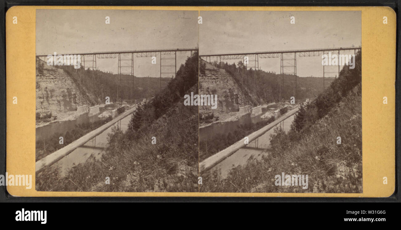 Portage Bridge, Erie RR, by Reid, John, II --1835-1911, 1835-1911 - Stock Image