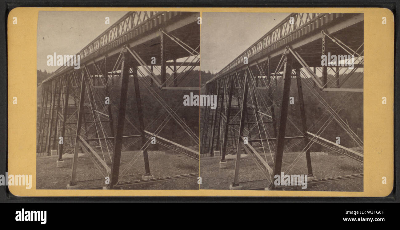 Portage Bridge, Erie RR, by Reid, John, II --1835-1911, 1835-1911 4 - Stock Image