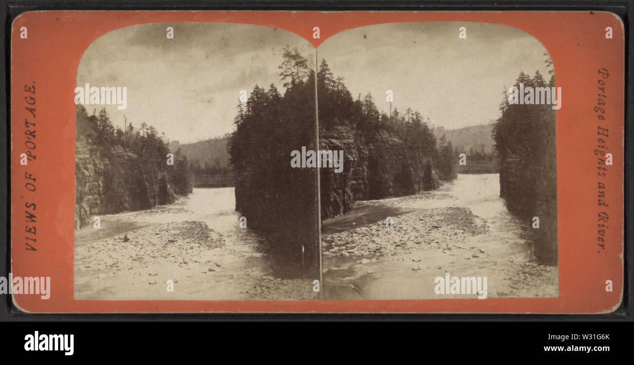 Portage Heights and River, from Robert N Dennis collection of stereoscopic views 2 - Stock Image