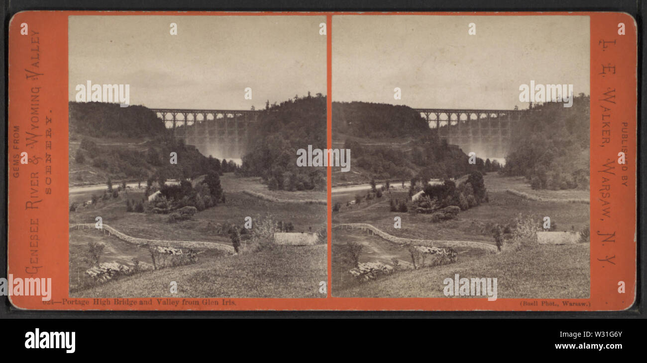 Portage High Bridge and Valley from Glen Iris, from Robert N Dennis collection of stereoscopic views - Stock Image