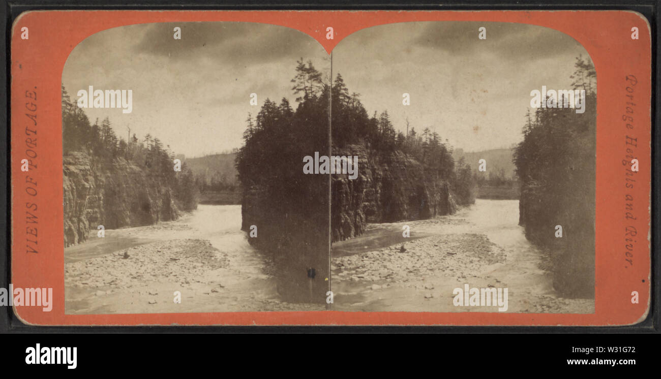 Portage Heights and River, from Robert N Dennis collection of stereoscopic views - Stock Image