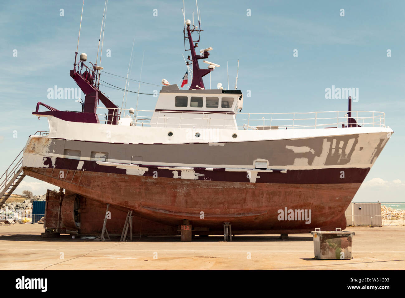 Vessel for fishing on dry dock - Stock Image