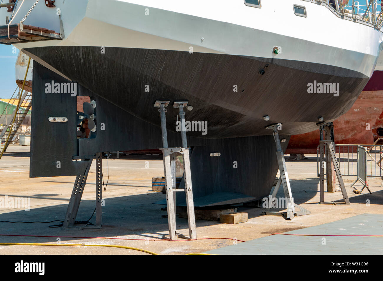 boat for fishing on dry dock - Stock Image