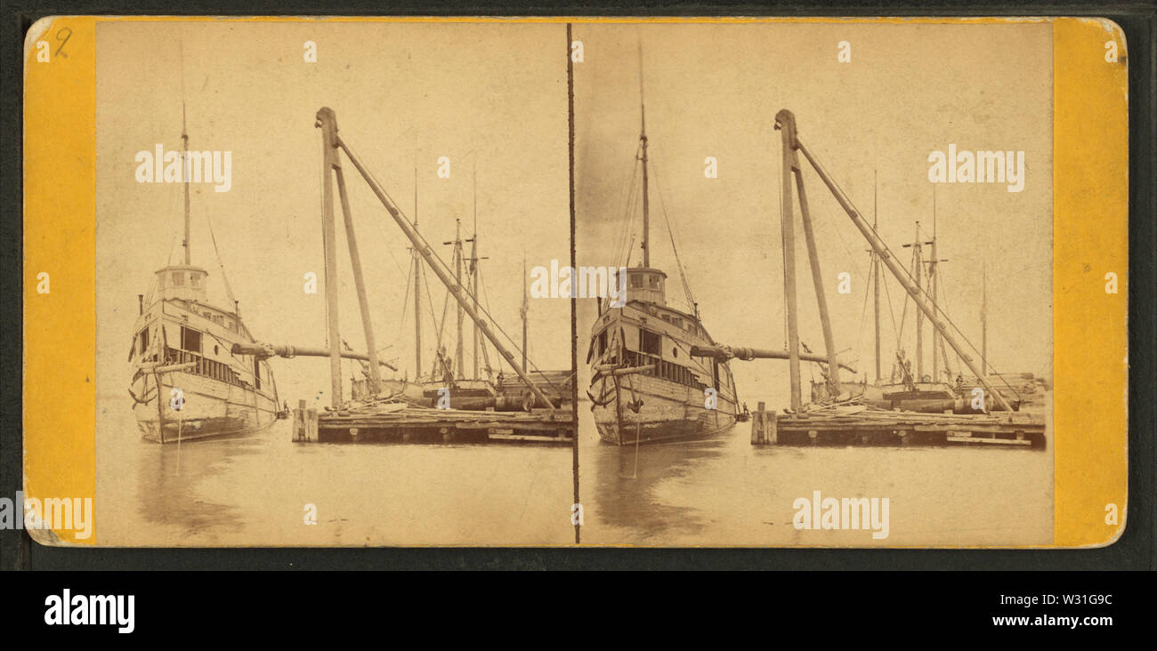 Portion of Detroit dry dock, by Bardwell, Jex J, 1824-1903 - Stock Image